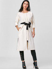 Tie Belt Side Slit Trench Coat