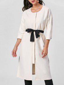 Buy Tie Belt Side Slit Trench Coat - LIGHT BEIGE XL