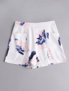 Pantalones Cortos De Cintura Alta Con Bolsillos - Floral S