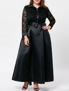 فستان الحجم الكبير دانتيل التريم ماكسي سوينغ - أسود 3xl