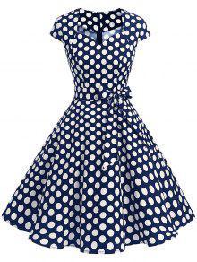 فستان بونوت البولكا نقطة كلاسيكي  - أزرق 2xl
