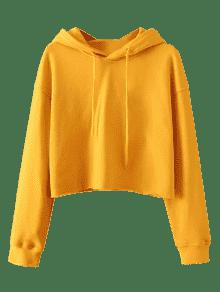 Pullover Cropped Sporty Hoodie MUSTARD: Hoodies & Jackets M | ZAFUL