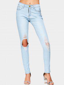 جينز قطع عالية الخصر ممزق - أزرق فاتح L