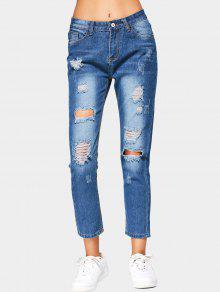 جينز مقصر ممزق عالية الخصر - أزرق L