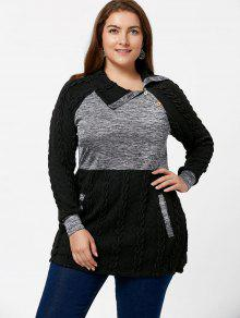 plus size cable knit sweater with pockets black: plus size