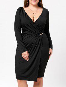 فستان غارق الرقبة الحجم الكبير ملائم - أسود 4xl
