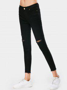 جينز رصاص مهترئ ضيق - أسود S