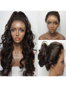 طويل رقيق جزء الحرة متموجة الدانتيل الجبهة شعر مستعار الإنسان - الأسود الطبيعي