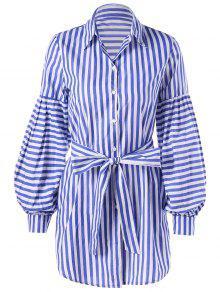 فستان شيرت فانوس الأكمام ربطة مع حزام  مخطط - الشريط الأزرق L