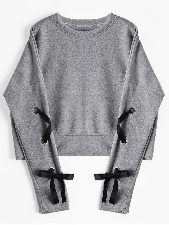 outfit Short Drop Shoulder Lace Up Sweatshirt - GRAY M