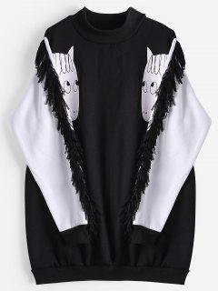 Loose Cartoon Two Tone Sweatshirt - Black