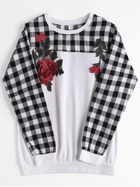 fashion Floral Embroidered Patches Checked Sweatshirt - WHITE XL Mobile
