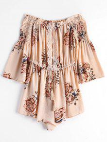 Lace Trim Smocked Off Hombro Romper - Rosa Beige  M