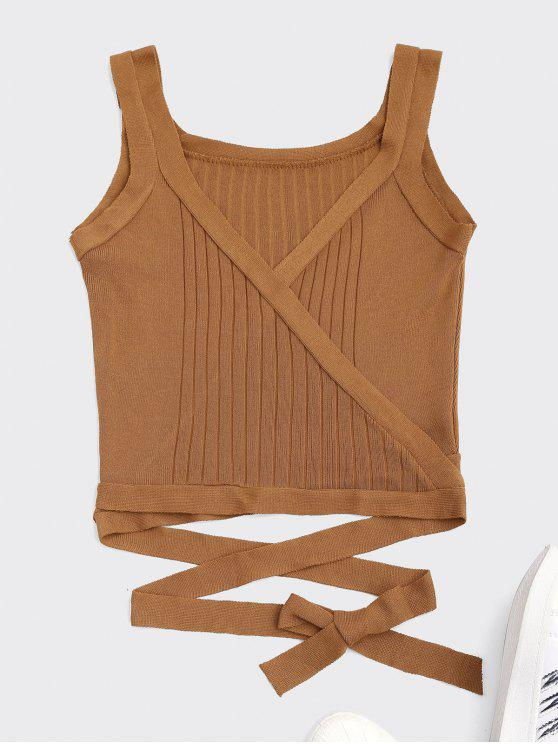 women's Wrap Knit Tank Top - EARTHY ONE SIZE