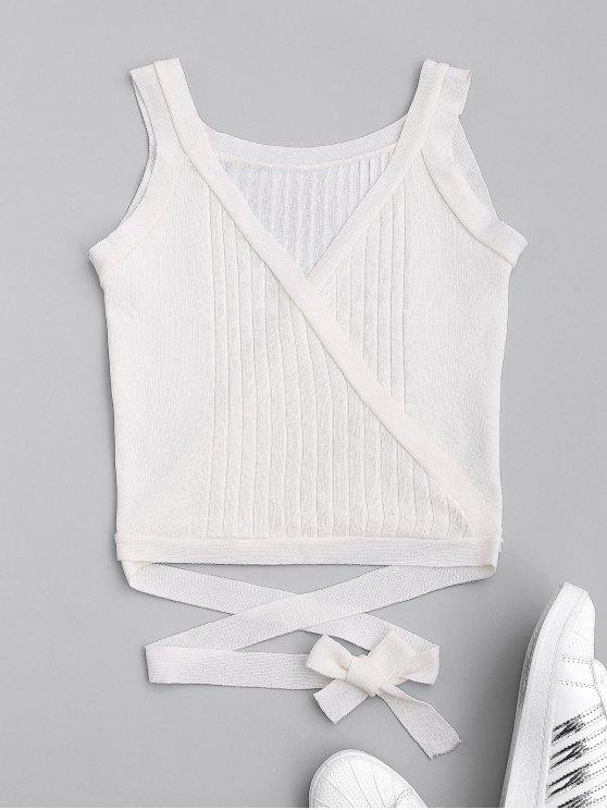 lady Wrap Knit Tank Top - WHITE ONE SIZE