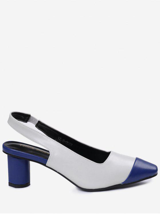 shops Slingback Mid Heel Color Block Pumps - BLUE 38