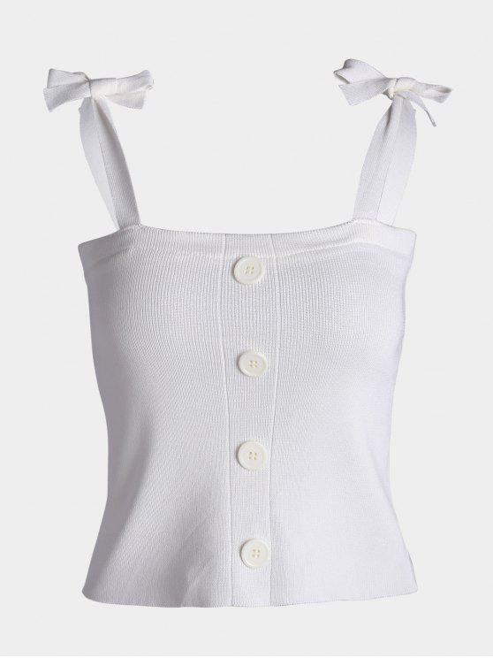 Button Embellished Tie Shoulder Knitted Top - Blanc TAILLE MOYENNE