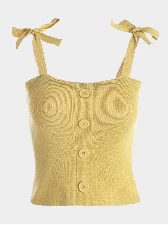 Button Embellished Tie Shoulder Knitted Top - Jaune TAILLE MOYENNE