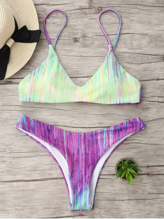 Tie Dye Spaghetti Strap Bikini Set - Colores Mezclados M