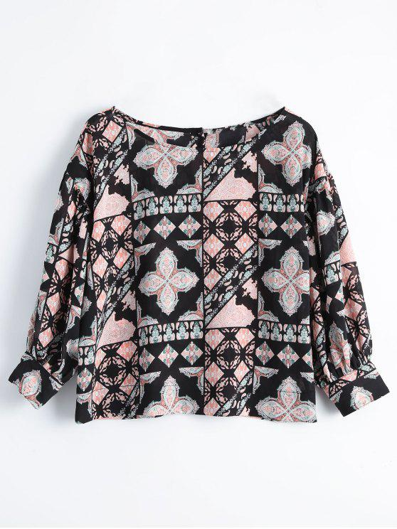 latest Printed Loose Button Up Blouse - FLORAL L