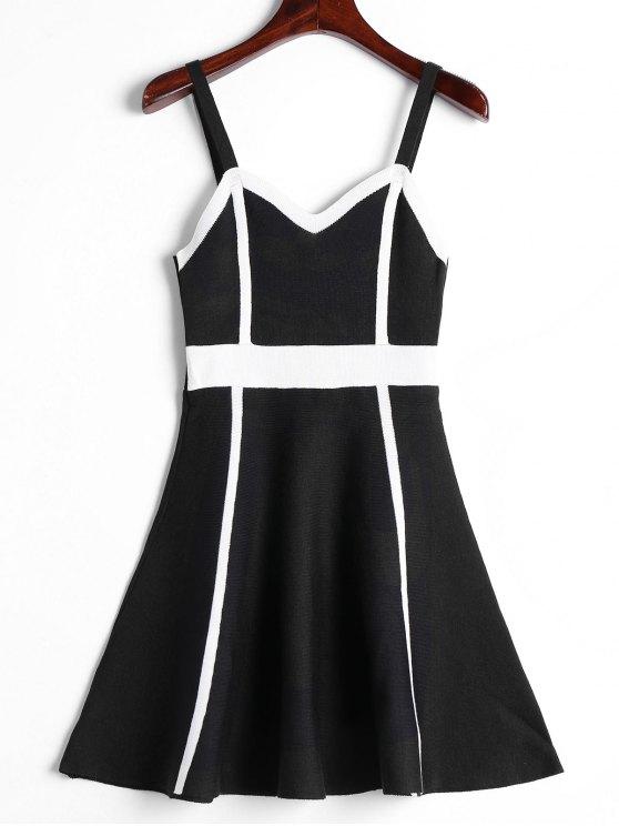 اللون كتلة كامي محبوك اللباس - أسود حجم واحد