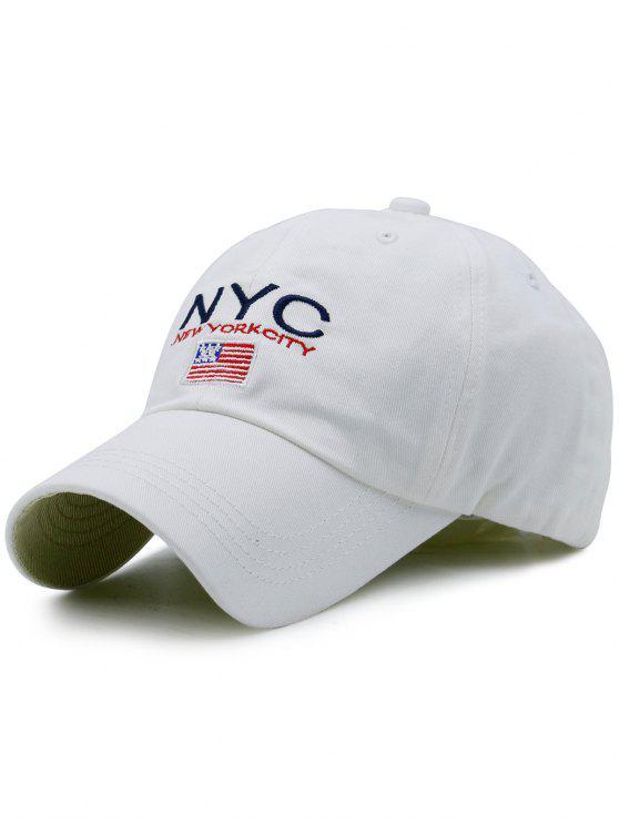 Chapéu de basebol do bordado de NYC e da bandeira - Branco