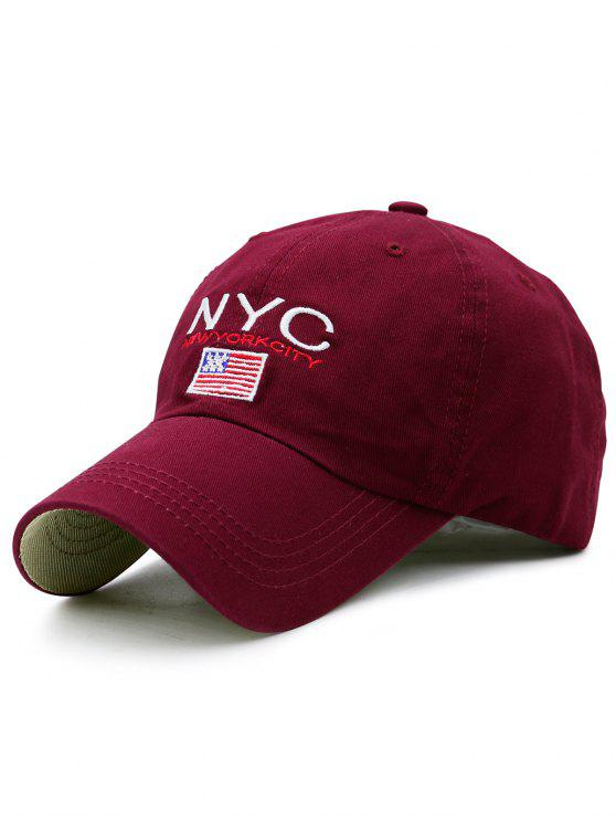 Chapeau de baseball de broderie de drapeau et de NYC - Rouge vineux