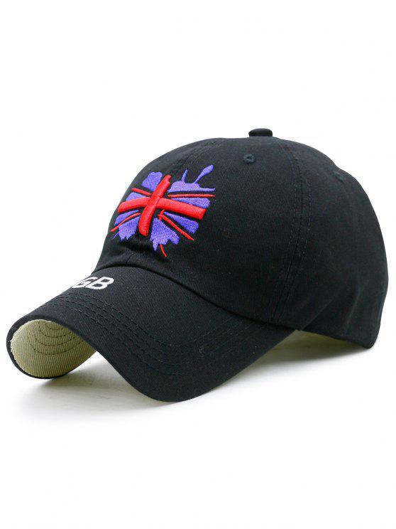 Sombrero de béisbol del bordado de la bandera de Ingl - Negro