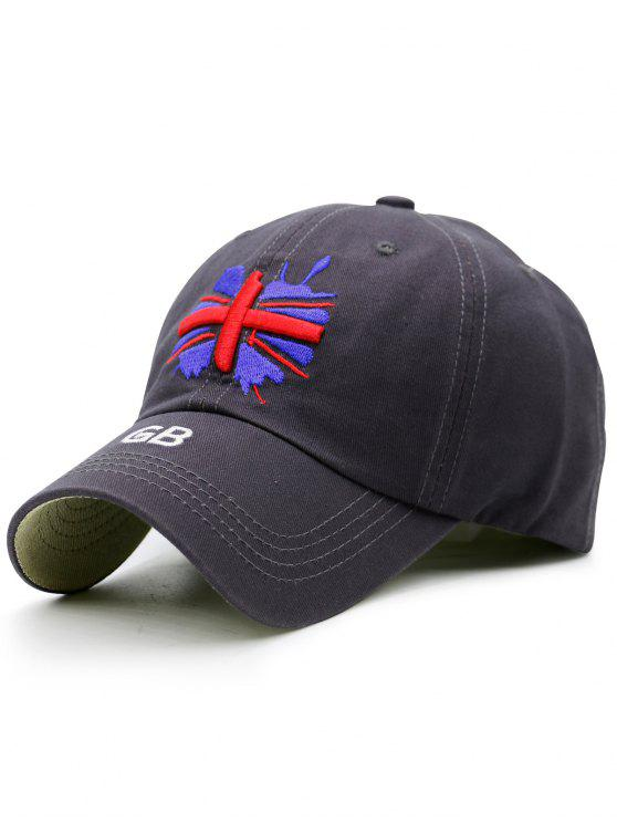 Chapeau de baseball de broderie de drapeau anglais - Gris Bleuté