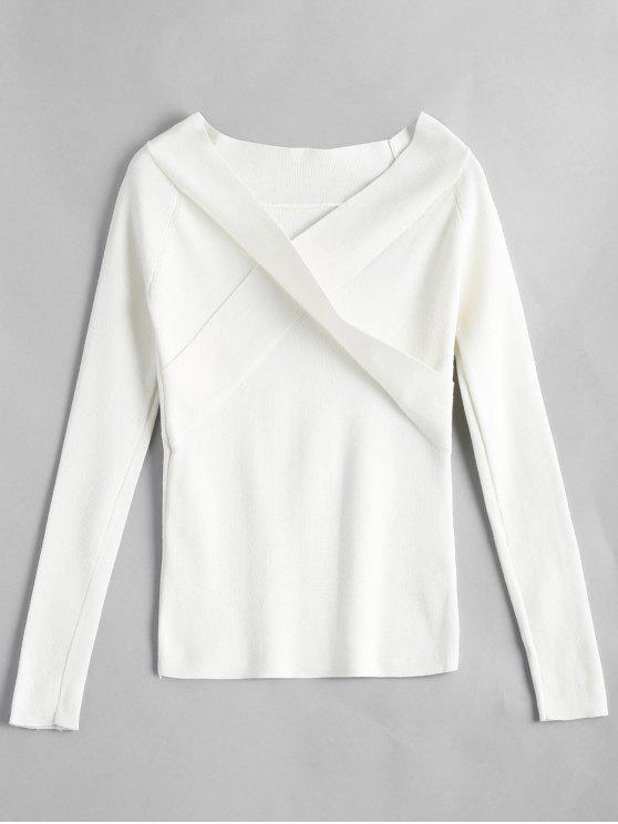 women's Crossed Front Off Shoulder Knitwear - WHITE ONE SIZE