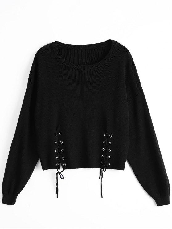 lady Loose Drop Shoulder Lace Up Sweater - BLACK ONE SIZE