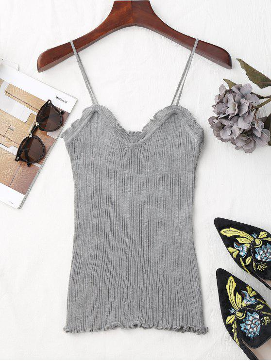 new Ruffled Hem Knitting Cami Top - GRAY ONE SIZE