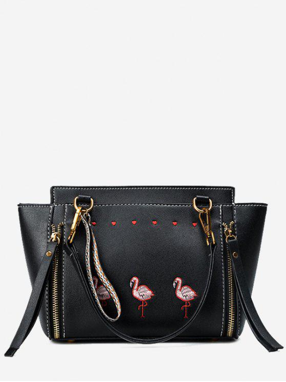outfit Zippers Faux Leather Embroidery Tote Bag - BLACK