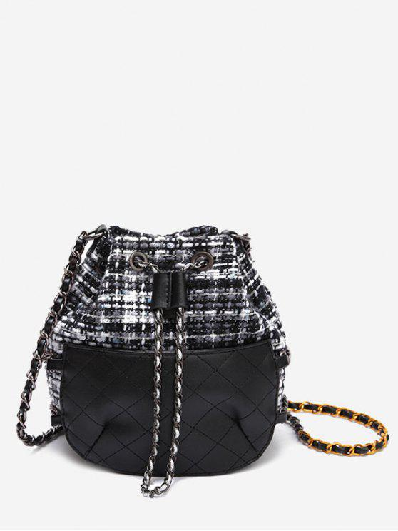 fancy Quilted Gien Check Chain Bucket Bag - BLACK
