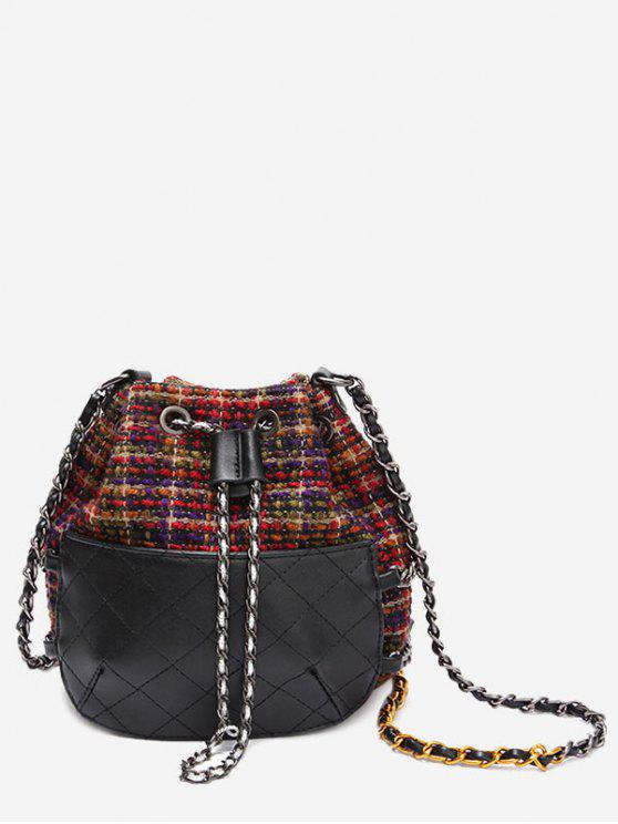 unique Quilted Gien Check Chain Bucket Bag - RED