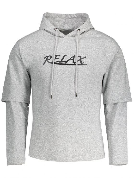 new Drawstring Relax Graphic Hoodie - GRAY 2XL