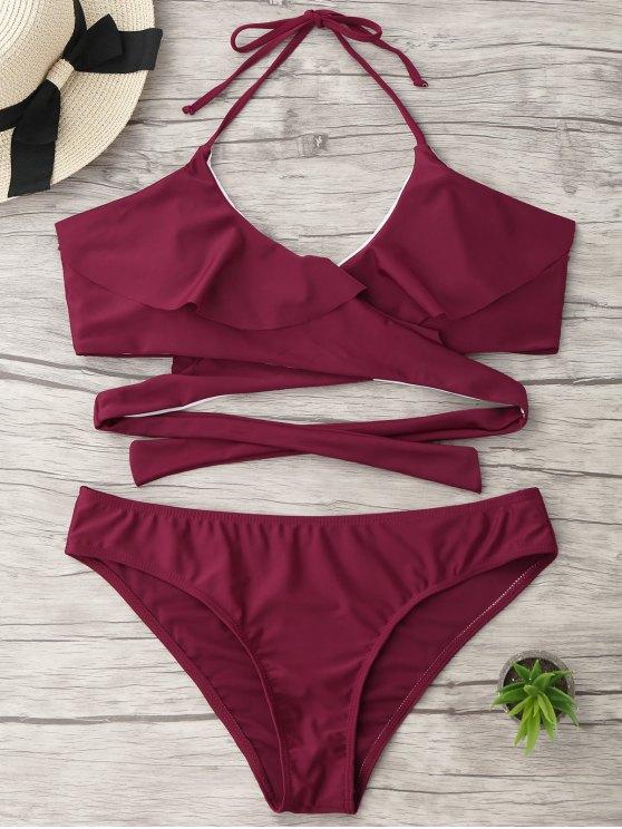 Halter Ruffle rembourré Plus Size Wrap Bikini - Bourgogne 3XL