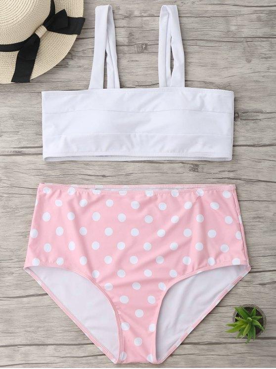 affordable Polka Dot Plus Size High Waisted Bikini - WHITE XL
