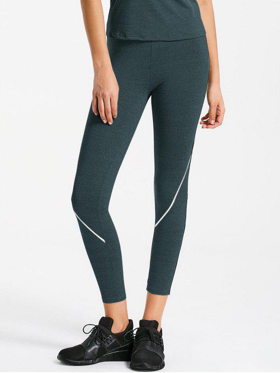 fancy Marled Sports Leggings - CHARCOAL GRAY S