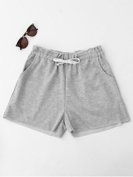 Shorts de suor com cordão bordado - Cinza S