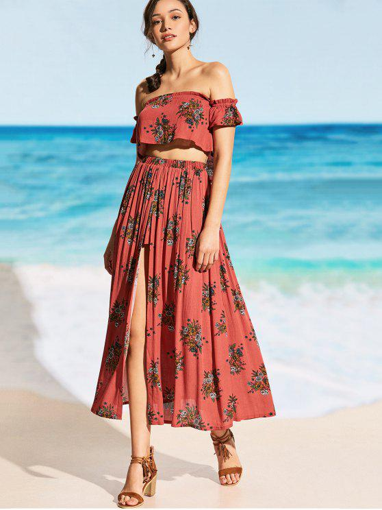 lady Printed Off Shoulder Top with High Slit Skirt - RUSSET-RED L
