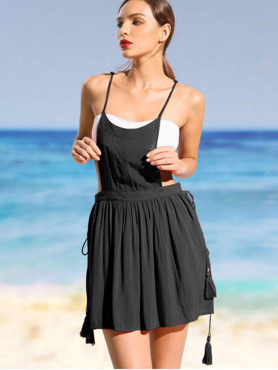 fashion Cami Cover Up Overlay Dress - BLACK M