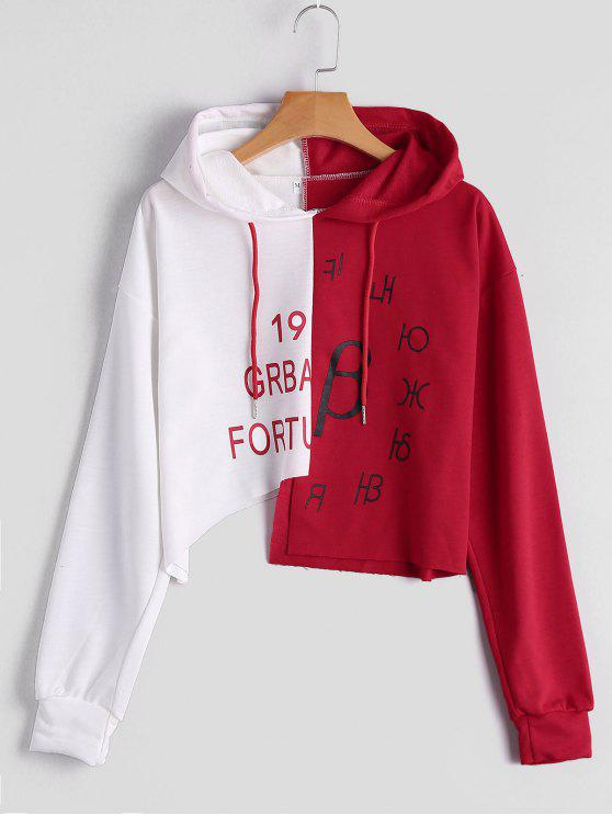 chic Graphic Two Tone Asymmetric Hoodie - RED WITH WHITE S