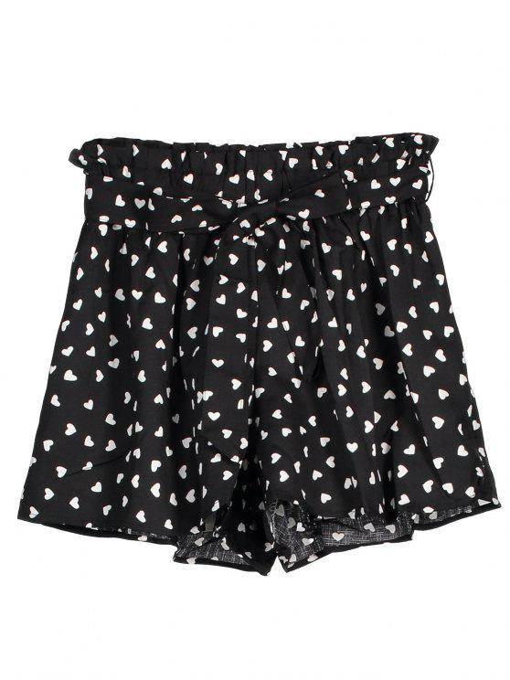 women's Tie Belt Heart Print Paperbag Shorts - BLACK M