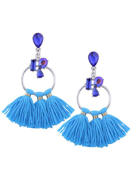 new Artificial Crystal Teardrop Hoop Tassel Earrings - BLUE