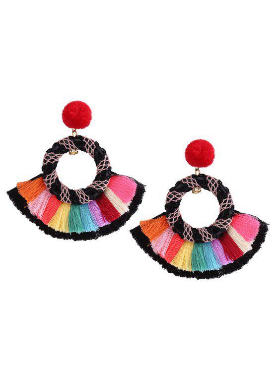 Boucles d'oreille ethniques Rainbow Tassel Fuzzy Pompon - Multicolore