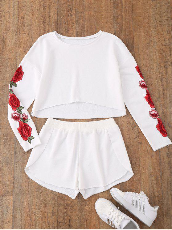 trendy Casual Floral Applique Top with Dolphin Shorts - WHITE M