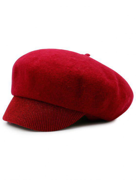 fashion Wool Blend Knit Newsboy Hat - RED