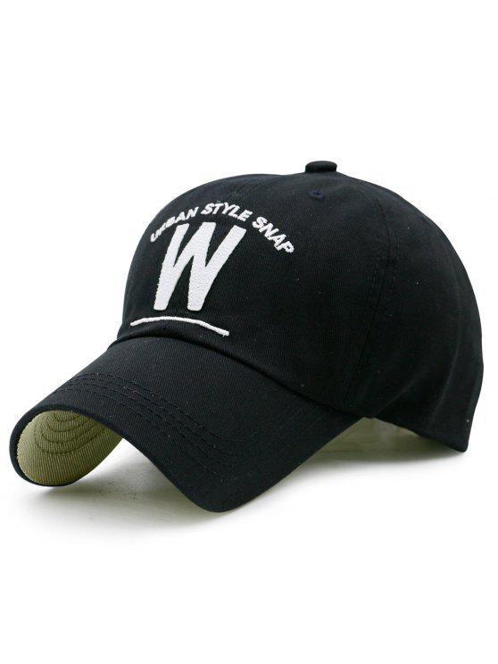 Forma de W y sombrero de béisbol del bordado - Negro