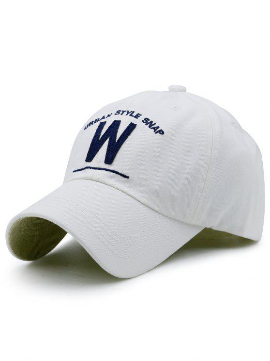 W-Form und Stickerei-Baseball-Hut - Weiß